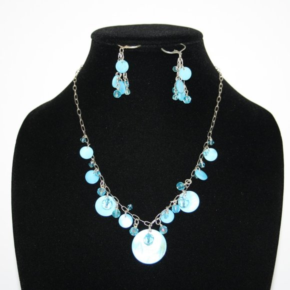 Vintagejelyfish Jewelry - Silver and blue shell necklace and earring set